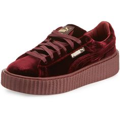 Fenty Puma By Rihanna Velvet Creeper Sneaker ($150) ❤ liked on Polyvore featuring shoes, sneakers, purple, shoes sneakers, purple shoes, lace up shoes, lacing sneakers, velvet sneakers and creeper platform shoes