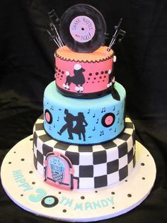 Bithday Cake I want to make this cake! Someone have a party with a theme and I am on it!I want to make this cake! Someone have a party with a theme and I am on it! Crazy Cakes, Fancy Cakes, Cute Cakes, Pretty Cakes, Cake Pops, Dessert, Bolo Fack, Sock Hop Party, Bithday Cake