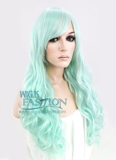 "24"" Long Curly Light Green Fashion Synthetic Hair Wig CM164"