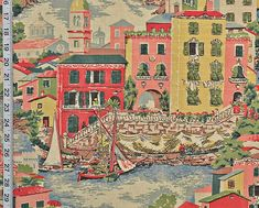 Venice Italy Venice fabric travel fabric pink by BrickHouseFabrics