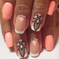 Evening dress nails Evening nails Festive nails Ideas of peach nails Luxurious nails Luxury nails Original nails Peach and white nails Fancy Nails, Cute Nails, Pretty Nails, Coral Nails, Peach Nails, Nail Art Design Gallery, Best Nail Art Designs, Fabulous Nails, Gorgeous Nails