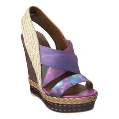 """These wedge espadrilles feature elastic crisscross straps and a raffia sling-back strap. Braided detailing on the stacked platform and heel.  Measurements: wedge 5"""" and platform 1.5"""""""