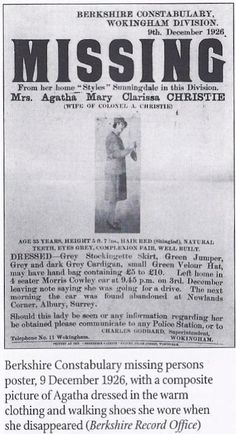Agatha Christie Missing Poster