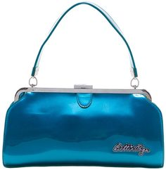 SOURPUSS+BETTIE+PAGE+COVER+GIRL+PURSE+BLUE+-+Spend+your+days+dreaming+of+the+prettiest+blue-eyed+gal+you+ever+did+see+with+our+Bettie+Page+Cover+Girl+Purse.+This+retro-styled+purse+is+perfect+for+day+or+night!+Its+glossy,+vinyl+body+and+handle,+metal+frame+with+latch,+Bettie+Page+logo,+and+heart-polka+dot-patterned+fabric+liner+will+elevate+any+outfit+to+the+next+level.