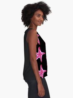 'Pink and Purple Starfish' Sleeveless Top by Niina Niskanen Nautical Shirt, Nautical Tops, Pink Art, Starfish, Wearable Art, Shirt Designs, Chiffon, Tank Tops, Purple