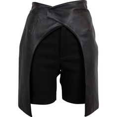 Pre-owned Esteban Cortazar Leather Shorts ($300) ❤ liked on Polyvore featuring shorts, black, leather shorts and esteban cortazar