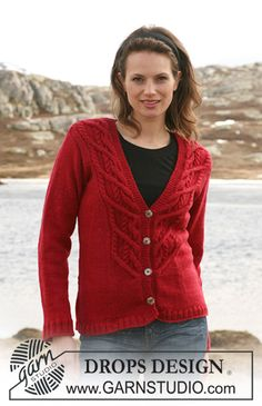 """DROPS 114-9 - Knitted DROPS jacket with cables in """"Karisma"""". Size S – XXXL. - Free pattern by DROPS Design"""
