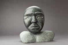 """Inuit, """"Mask"""" by Kelly Qimirpik, Lake Harbour, Soapstone, 14 x 10.5 x 2.5"""""""