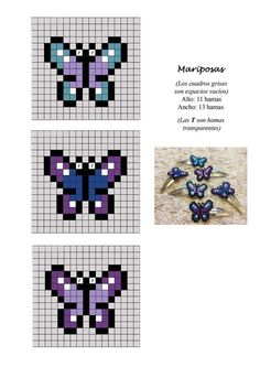 Small butterfly chart for cross stitch, knitting, knotting, weaving, pixel art… Pearler Bead Patterns, Bead Loom Patterns, Perler Patterns, Beading Patterns, Cross Stitch Patterns, Peyote Patterns, Perler Beads, Perler Bead Art, Fuse Beads
