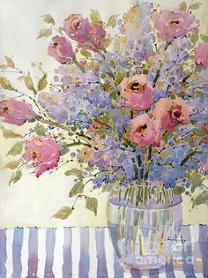 Pink Roses and Lilacs Painting