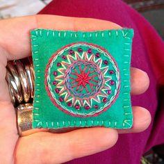 Aqua Embroidered Mandala