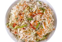 Try this colorful, cool and crisp cabbage and red pepper slaw instead of hig-fat cole slaw, potato salad or macaroni salad.