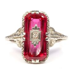 bf1a75c4ae3 10K White Gold Diamond and Synthetic Ruby Filigree Ring Synthetic Ruby, White  Gold Rings,