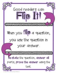 "This freebie helps students practice using the question as part of the answer and proving answers with text evidence.Perfect for CCSS RL 2.1, 3.1, and 4.1.I have printed them on colored paper and will use them whole group to have students orally ""flip"" each question."