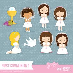 FIRST COMMUNION 1 Digital Clipart ,Clipart Communion / Personal and Commercial Use  / Instant Download