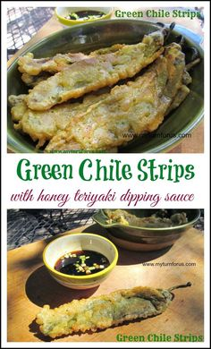 Hatch Green Chile Strips are whole green chiles, battered, fried and served with Honey Teriyaki Dipping Sauce. Hatch Recipe, Hatch Green Chili Recipe, Green Chili Recipes, Hatch Chili, Veggie Recipes, Appetizer Recipes, Mexican Food Recipes, Vegetarian Recipes, Cooking Recipes