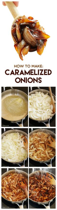 If you're like me, onions maketh the burger. Here's a great method for creating perfectly caramelised Onions for your favourite burger recipe! How To Make Caramelized Onions -- a step-by-step photo tutorial and recipe by verna Onion Recipes, Vegetable Recipes, New Recipes, Vegetarian Recipes, Cooking Recipes, Healthy Recipes, Cooking Tips, Cooking Food, Skillet Cooking