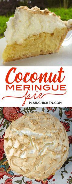 Coconut Meringue Pie - hands down the BEST coconut pie we\'ve ever eaten! SO easy to make and it tastes amazing! Coconut Meringue Pie, Best Coconut Cream Pie, Coconut Pudding, Coconut Sugar, Banana Cream Pie Cake, Blueberry Cream Pies, Maple Cream Pie Recipe, Cream Pie Recipes, Snickers Torte