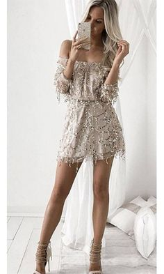 Heavenly Flirt Beige Gold Sequin 3/4 Sleeve Off The Shoulder Elastic Waist Mini Dress