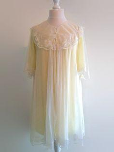 Rumpus & Clinch: Vintage lemon yellow nylon peignoir set