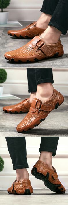 Amazon Men's Leather Summer Driving Shoes Slip On Loafers Casual Hiking Shoes