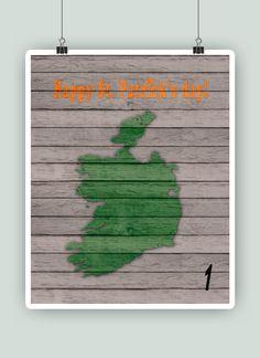 Personalized Ireland map print with flag Ireland by PrintCorner
