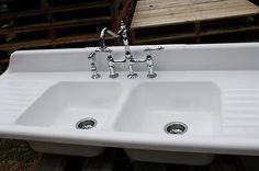 1940 Cast Iron Farmhouse Sink 66 x 24 Double Basin Double Drain Board Fauce   eBay