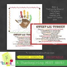 Sweet Lil Turkey 6 versions Thanksgiving Digital Download | Etsy