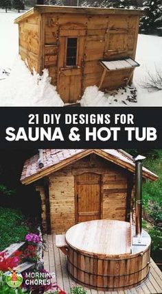21 Inexpensive DIY Sauna and Wood-Burning Hot Tub Design Ideas Relaxing in your own sauna or hot tub has many health benefits. We help you with great sauna and hot tub designs and ideas for you to build your own. Diy Sauna, Sauna Ideas, Hot Tub Backyard, Hot Tub Garden, Backyard Ideas, Backyard Pools, Pool Decks, Large Backyard, Garden Ideas