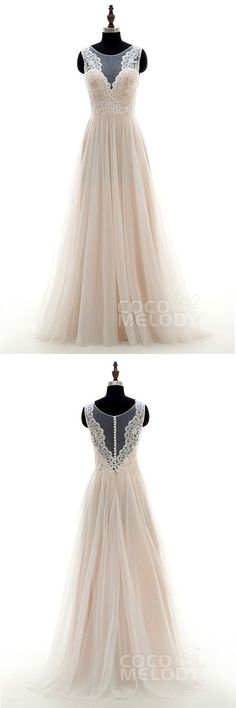 Pretty A-Line Illusion Natural Sweep-Brush Train Tulle and Lace Ivory/Champagne…