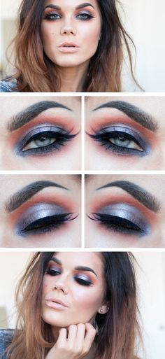 "Today's Look : "" An Unexpected Combo"" -Linda Hallberg (I love this look!!! Purple is one of my go to colors since I have brown eyes, and this pop of orange is unexpected but not bad at all! It looks like a fun look to try for autumn! )08/28/13"