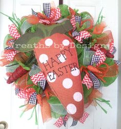 Carrot Happy Easter Wreath by WreathsbyDesign1 on Etsy, $85.00