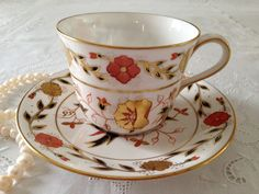 Hand Painted Royal Crown Derby Tea Cup & Saucer