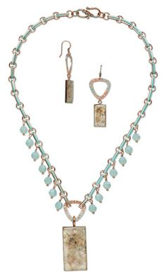Single-Strand Necklace and Earring Set with SWAROVSKI ELEMENTS, Personalized Copper-Plated Pewter Links and Copper Drops and Focals