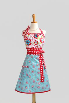 Cute Kitsch Apron . Modern Design in Riley Blakes Large Red and Turquoise Blue Floral and Paisley. $36.00, via Etsy.