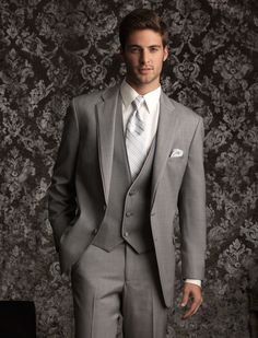 Grey suit, ivory shirt  | Savvi Formalwear. ...now i just gotta find the man who will wear it!