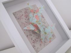 Origami Butterflies in a white frame. Order via www.facebook.com/ChienoWa.Origami