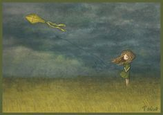 By Саша Салмина (Sasha Salmina).  What a beautiful storm to fly a kite in.