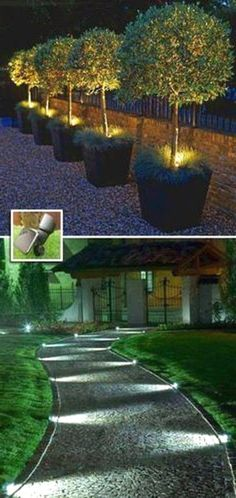21 ideas for outdoor lighting for a shabby chic garden. Number 6 is … - Diy Garden Projects Backyard Lighting, Outdoor Lighting, Lighting Ideas, Fence Lighting, Lighting Design, Diy Garden Projects, Garden Ideas, Modern Garden Design, Landscape Lighting