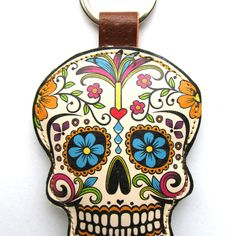 Leather keyring - Sugar Skull...I want a Sugar Skull tattoo soooo bad!!