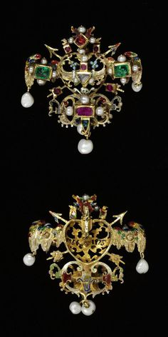 Enamelled gold dress ornament with a central openwork heart with a skull and cross-bones, two arrows and other devices, with rubies, emeralds, a table-cut diamond and hung with pearls, probably Germany, about 1575-1600. Height: 5.1 cm, Width: 4.7 cm, Depth: 1.4 cm