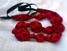 Red and Black Beaded Nursing Necklace, Fabric Necklace, Statement Necklace, Teething Necklace