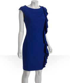 atlantis stretch ruffle side cap sleeve dress Mid-weight stretch blend knit Rounded neckline Cap sleeves Pleating at side bodice Cascading ruffle down side seam Straight skirt with rear center slit