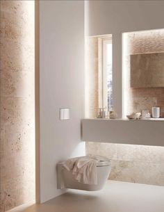 MATIÈRE DES MURS • éclairage indirect pour la salle de bain de couleur taupe