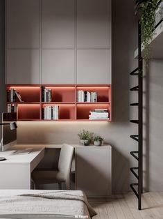Study Room Decor, Study Room Design, Modern Study Rooms, Home Office Design, House Design, Study Table Designs, Modern Interior, Interior Design, Spacious Living Room