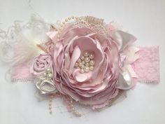 Blushing bride over the top couture headband, couture headband, over the top bow, baby headband, flo Fabric Roses, Satin Flowers, Fabric Ribbon, Felt Flowers, Vintage Headbands, Pink Headbands, Diy Headband, Ribbon Work, Silk Ribbon Embroidery