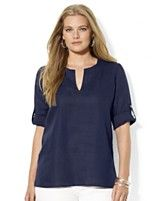 Lauren Ralph Lauren Plus Size Roll-Tab-Sleeve Linen Tunic Top