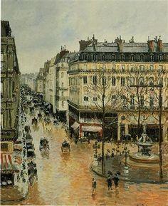 Rue Saint Honore, Afternoon, Rain Effect - Camille Pissarro