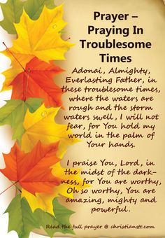 Prayer In Troublesome Times ~ Adonai, Almighty, Everlasting Father, in these troublesome times, where the waters are rough and the storm waters swell, I will not fear, for You hold my world in the palm of Your hands. I praise You, Lord, in the midst of the darkness, for You are worthy, Oh so worthy, You are amazing, mighty and powerful. [...]
