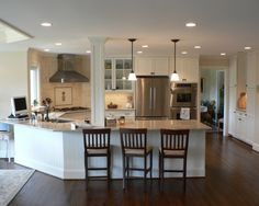 One level angled-peninsula - Kitchen Peninsula Design, Pictures, Remodel, Decor and Ideas